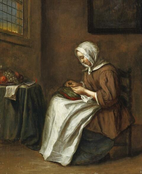 Netherlandish School, 17th Century - YOUNG WOMAN SEWING