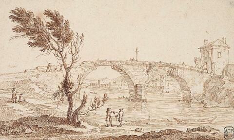 Französischer Meister des 18. Jahrhunderts - FLUSSLANDSCHAFT MIT BRÜCKE
