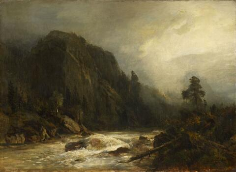 Andreas Achenbach - MOUNTAIN LANDSCAPE WITH TORRENT