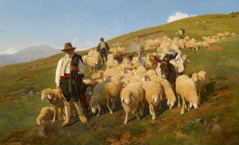 Italienischer Künstler des 19. Jahrhunderts - DREI BERGHIRTEN MIT SCHAFEN UND MAULTIER