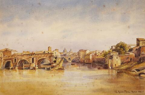 Ettore Roesler Franz - PONTE ROTO IN ROME