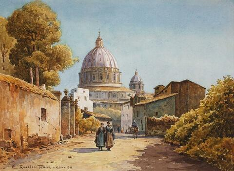 Ettore Roesler Franz - ROMAN STREET WITH VIEW OF THE CUPOLA OF SAINT PETER´S BASILICA