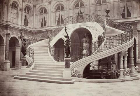 Charles Marville - Hotel de Ville de Paris, escalier de la Cour d'honneur