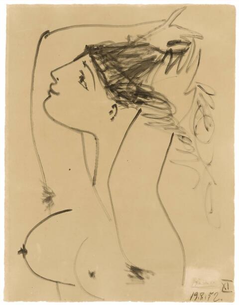 Pablo Picasso - Femme se coiffant - Studie zu La Guerre et la Paix
