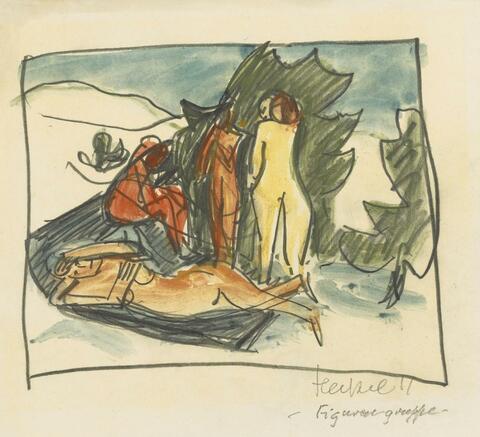 Erich Heckel - Badende. Verso: Sich bückende Figur