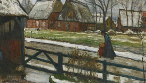 Otto Modersohn - Fischerhuder Dorfstraße im Winter. Verso: Felder im Frühjahr