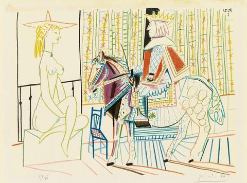 Nach Pablo Picasso - Femme nue et Roi à Cheval