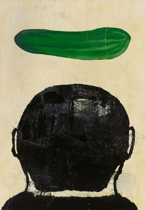 Donald Baechler - Ohne Titel (Composition with cucumber)