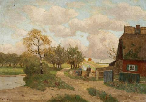 Paul Müller-Kaempff - A NORTH GERMAN LANDSCAPE WITH FARM HOUSE