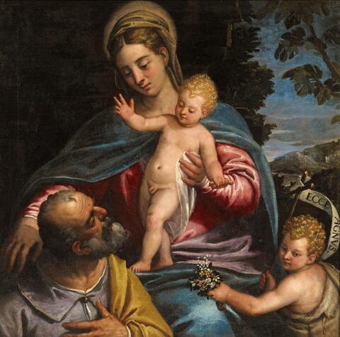 Venetian School late 16th century - THE HOLY FAMILY WITH THE INFANT SAINT JOHN