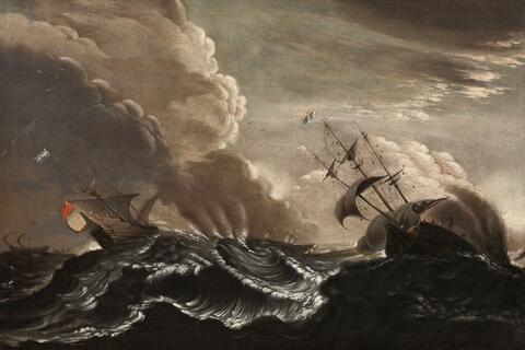 Claes Claesz. Wou, in the manner of - SHIPS IN A STORMY SEA