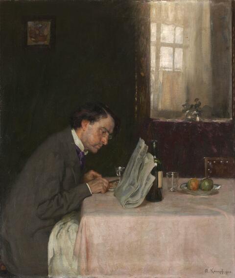 Arthur Kampf - READING A NEWSPAPER