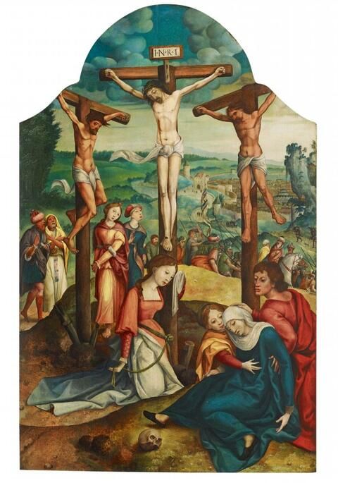 Netherlandish School Mid 16th century - THE CRUCIFIXION OF CHRIST