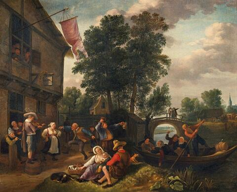 Jan Steen - PEASANTS MAKING MERRY IN FRONT OF A TAVERN