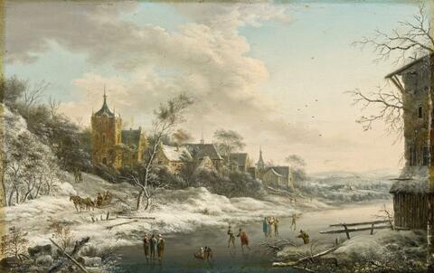 Johann Christian Vollerdt - WINTER LANDSCAPE WITH SKATERS