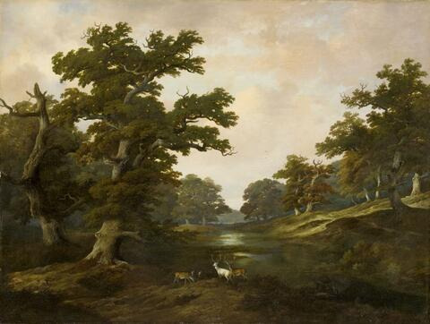 German School, early 19th Century - WOODED LANDSCAPE WITH DEERS AND A WHITE STAG