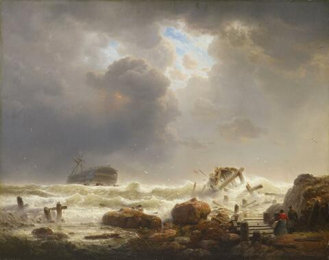 Andreas Achenbach - COASTLINE WITH STORMY SEA