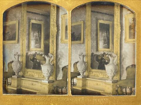 Wilhelm Schneider - Spiegel und Konsole eines Salons
