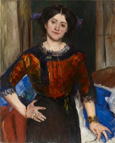 Lovis Corinth - Porträt Charlotte Corinth in brauner Bluse