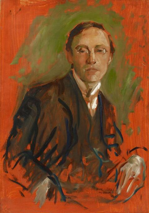 August Macke - Porträt Karl Keck. Rückseitig Ölskizze eines grabenden Bauers