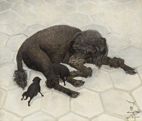 Léonard Tsuguharu Foujita - May, ou La Chienne noire allaitant