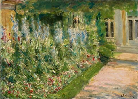 Max Liebermann - Blumenstauden am Gärtnerhäuschen nach Osten