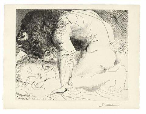 Pablo Picasso - Minotaure caressant une Dormeuse, Bl. 93 aus: La Suite Vollard