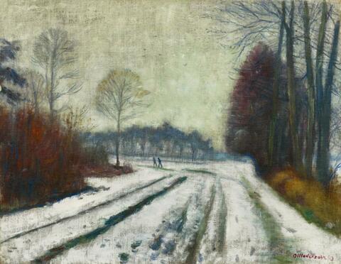 Otto Modersohn - Winterlandschaft, Weg nach Surheide