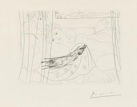 Pablo Picasso - Minotaure et jeune femme enlacés rêvant sous une fenêtre