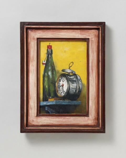 Franz Radziwill - Stilleben mit Weckuhr und Bierflasche