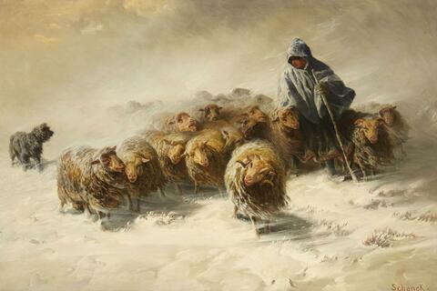 AUGUST SCHENCK - FLOCK OF SHEEP IN THE SNOW