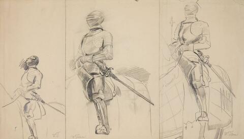 Wilhelm Trübner - THREE STUDIES OF KNIGHTS