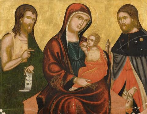 Italienischer Meister des 15. Jahrhunderts - MUTTERGOTTES MIT DEN HEILIGEN JOHANNES UND JAKOBUS