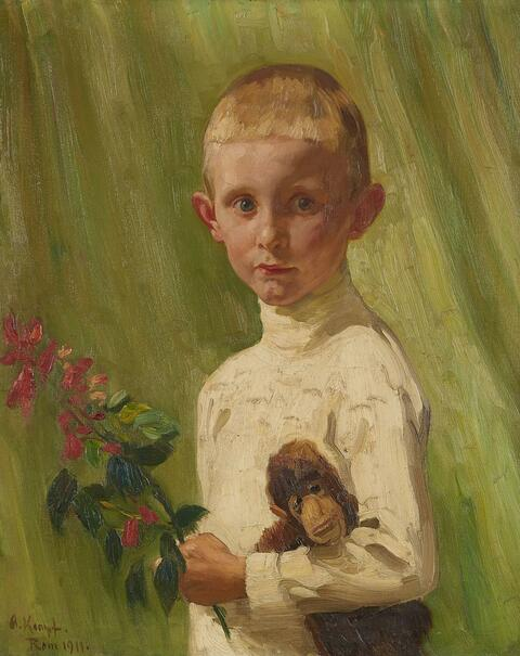 Arthur Kampf - PORTRAIT OF A BOY WITH A FLOWERING BRANCH AND A MONKEY