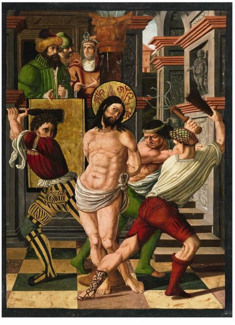 Spanish School circa 1500 - THE FLAGELLATION OF CHRIST