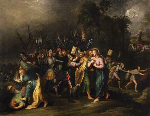 Frans Francken the Younger, circle of - THE TAKING OF CHRIST WITH THE KISS OF JUDAS