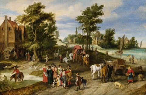 Jan Brueghel d. J. - DORFLANDSCHAFT MIT PFERDETRÄNKE