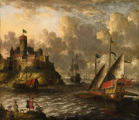 Pieter van den Velde - A VIEW OF A HARBOUR WITH A GALLEY