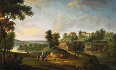 Peeter van Bredael - WIDE RIVER LANDSCAPE WITH VILLAGE AND FIGURES