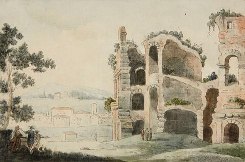 Venetian School of the 18th century - A LANDSCAPE WITH A RUIN