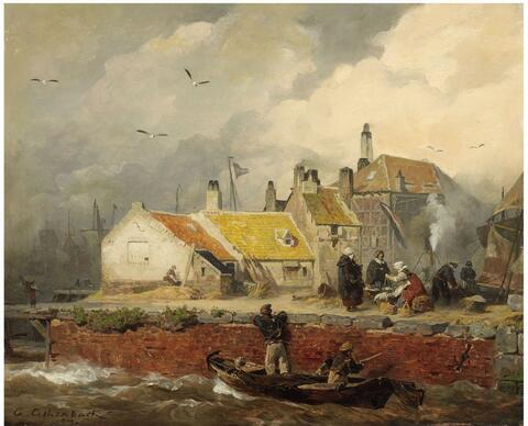 Andreas Achenbach - A DUTCH COASTAL SCENE WITH FISHER'S COTTAGES