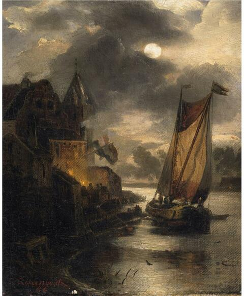 Andreas Achenbach - A VIEW OF A DUTCH COASTAL TOWN AND A SAILING BOAT BY MOONLIGHT