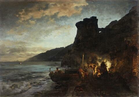 Oswald Achenbach - THE TORRE DE ASTURNU BY NIGHT