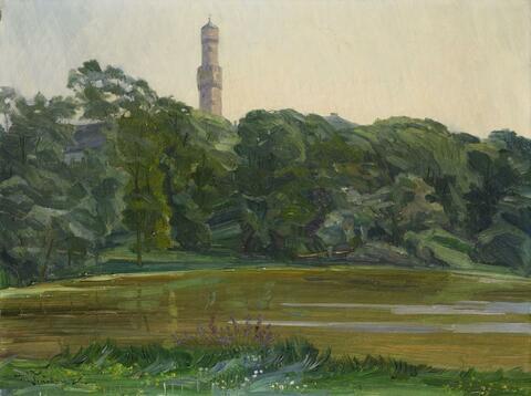 Wilhelm Trübner - THE PARK IN BAD HOMBURG WITH THE WHITE TOWER