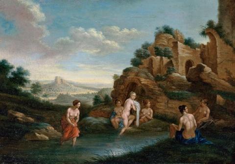Christian Wilhelm Ernst Dietrich, gen. Dietricy, Umkreis - Landschaft mit badenden Nymphen