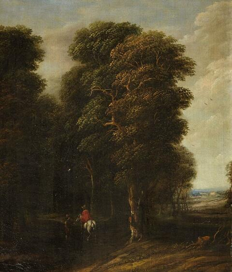Cornelis Gael - Wooded Landscape with a Rider