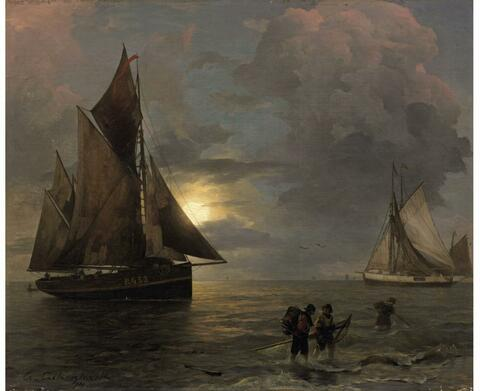 Andreas Achenbach - A Coastal Landscape with Sailing Ships by Moonlight