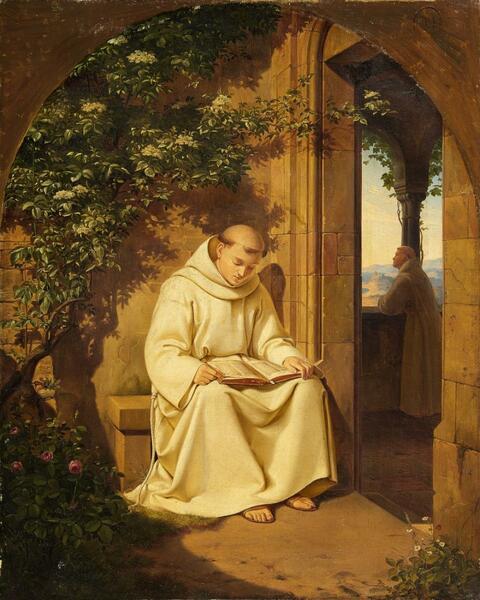 Deutscher Künstler um 1840 - Lesender Mönch