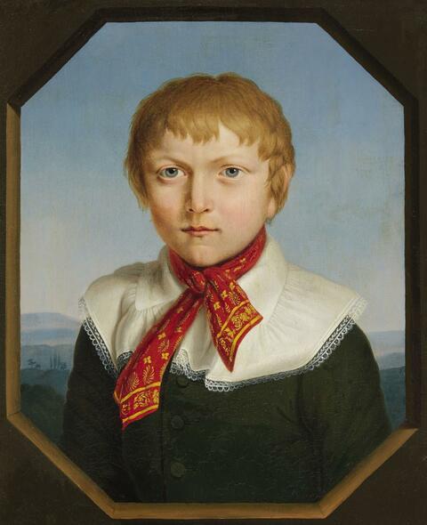 Deutscher Künstler 1. Hälfte des 19. Jahrhunderts - Bildnis eines Jungen vor Landschaftshintergrund