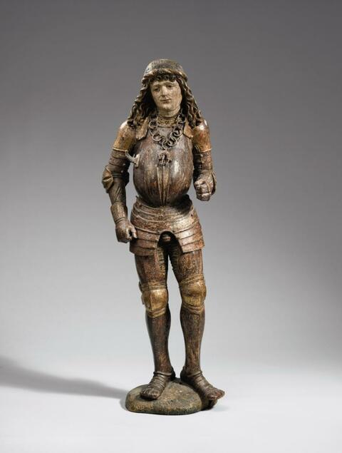 Swabia circa 1500 - A Swabian figure of a holy knight, circa 1500